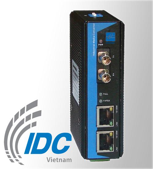 Media Converter công nghiệp 2 cổng Ethernet 10/100M + 1 cổng Quang Single-mode 100M, 20Km